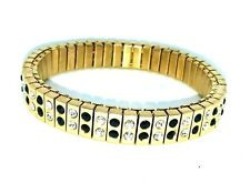 Stainless Steel Gold Link Stretchy Elasticated Bracelet - Black & Clear Crystal