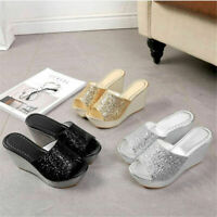 Women Glitter Sequin Platform Wedge Sandal Peep Toe Slip On Slipper Indoor Shoes