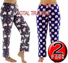 2 Pairs Ladies Womens Fleece Pyjamas Lounge Pants Bottoms ANIMAL