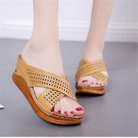 Women Wedge Slippers Peep Toe Chunky Sandals Platform Heel Beach Leather Shoes