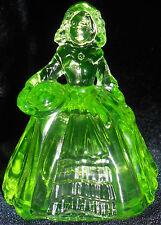 Green Vaseline glass Doll Figurine uranium girl figure princess dress Elizabeth
