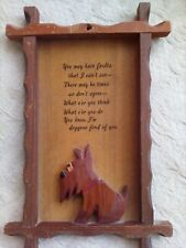 Vtg Carved Wooden Shaggy Dog and Funny Poem Wall Plaque Doggone Fond of You Art