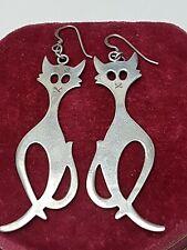 XXL große Vintage Ohrhänger 925 Silber Katzen - Felidae - 80er Jahre A 393