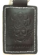 NWOT Rock & Republic Black Faux Leather Unisex Skull Design Key Chain