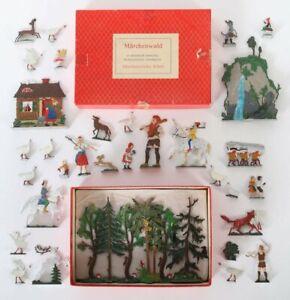 Konvolut Zinnfiguren um 1960 - 70 - Märchenwald - im Originalkarton Tiere Drache