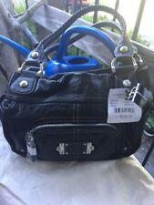 NWT B Makowsky Gorgeous Black Leather REBEL CROCO SHOPPER Shoulder BIKER BAG