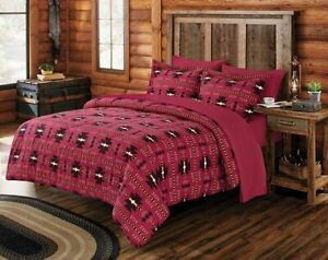 Queen Southwestern Aztec Native Red Burgundy Cabin Comforter Set - 7 Piece Set