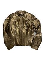 Revue Women's Genuine Leather Jacket Antique Brass, Brown Gold sz S