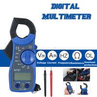 LCD Digital Multimeter Auto Handheld Clamp Meter Volt AC DC 600 Amp Tester Blue