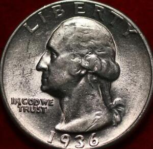 Uncirculated 1936 Philadelphia Mint Silver Washington Quarter
