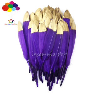 Duck Feather Yellow Dyed Gold Head 6-8Inch/15-20cm 10-100Pcs Diy Carnival Mask