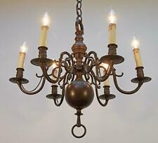 Exquisite! antique DUTCH FLEMISH BRONZE CHANDELIER ceiling light lamp
