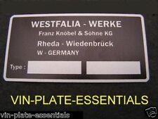 VW VOLKSWAGEN WESTFALIA INTERNI TARGA PLACCA Bay T3 T2 25 T4 Classic Auto parte