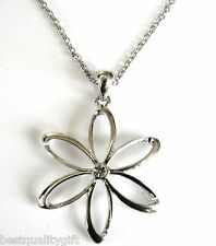 NEW GUESS SILVER TONE FLOWER+CRYSTAL RHINESTONE ADJUSTABLE NECKLACE