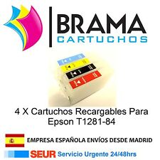4 X CARTUCHOS RECARGABLES  T1281 T1282 T1283 T1284 T 1281 S22 SX125 SX425W BX305