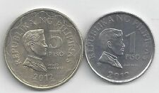 2 DIFFERENT COINS from the PHILIPPINES - 1 & 5 PISOS (BOTH DATING 2012)