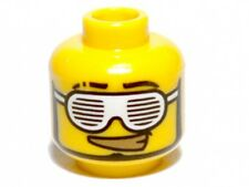 LEGO - Minifig, Head Slotted White Sunglasses and Smirk with Gold Teeth