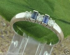 0.45 ct 14k Solid White Gold Ladies Baguette Blue Sapphire Natural Diamond Ring