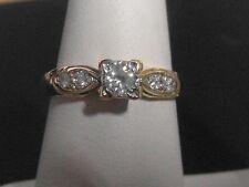 118j-Donna Vintage 9k Oro anello con diamanti 0.20 Taglia M