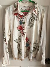 J Jill Beautiful Ivory Silk Embroidered Shirt Split Bell Sleeves Size XL