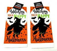 Halloween Kitchen Towel Witching you a Happy Halloween Witch on Broom Moon Bats