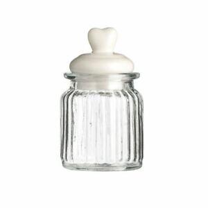 Storage Jar, Ribbed Glass/Heart Design Lid, 270ml