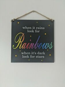 When it rains look for rainbows Wall Plaque, rainbow nursery, baby shower gift
