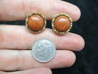 Vintage Gold Tone Marbleized Brown Cabochon Pierced Earrings