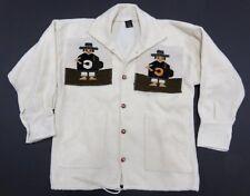 White Peruvian Wool Button Up 100% Wool Jacket Adult Men's Size Made in Peru