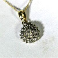 9ct 9k Gold Diamond Cluster Pendant Necklace