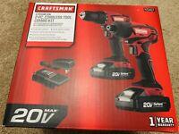 Craftsman 20V MAX Cordless Drill and Impact Driver Combo Kit New Sealed