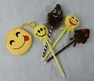 4 X EMOJI PENS PARTY FAVORS KIDS KEEPSAKE GIFTS PLUSH YELLOW AND 1 POUCH