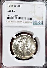🌟 GORGEOUS 🌟 MS-66 1945-D Walking Liberty Half Dollar NGC NICEST ONE on Ebay