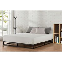 King Size Metal Platform Bed Frame With Wood Slats Bedroom Mattress Foundation