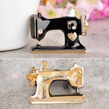 Women Retro Black Enamel Crystal Sewing Machine Art Brooch Pin Girl Jewelry