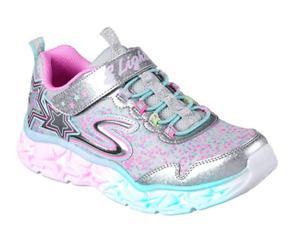 Skechers S Lights: Galaxy Lights Kinder Sneaker Schuhe 10920L (Silber-SMLT)