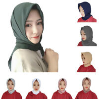 New Plain Chiffon Square Large Hijab Scarf Wrap Shawl Muslim Headscarf 110*110cm