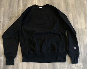 Champion Black Reverse Weave Sweatshirt Crewneck Size Medium