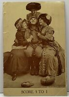 SCORE 3 TO 1 Baseball Player 3 Women 1910 Tolna North Dakota Postcard D17