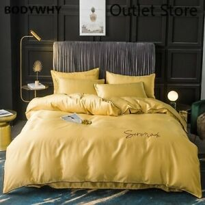 Silk  Bedding Set  Duvet Cover Pillowcase Bedspread Bed Linens for Women Men