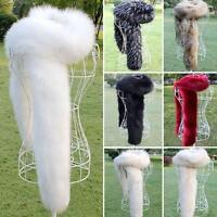 Ladies Women's Real Fur Collar Scarf Fluffy Winter Shawl Wrap Stole Scarfs New