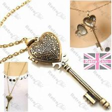 BIG ORNATE KEY LOCKET long chain NECKLACE antique gold pltd VINTAGE STYLE