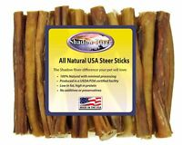 "25 Count 6"" REGULAR Shadow River USA STEER Bully Sticks Dog Treats Chew"