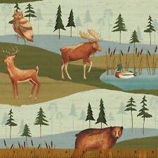 By 1/2 Yard Windham Wild Woods Animal Scenic Fabric ~ Deer Bear Moose Owl Duck