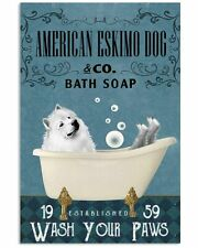 Bath Soap Company-American Eskimo Dog Poster Art Print - Gift For Dog Lover