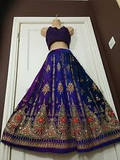 Ladies Boho Hippie Gypsy Long Sequin Skirt Rayon TIE DYE finish BLUE/PURPLE 8-16