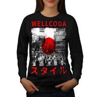 Wellcoda Japan Style Flag Womens Sweatshirt, Japanese Casual Pullover Jumper