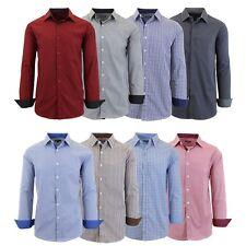 Men's Long Sleeve Slim-Fit Dress Shirts Work School Casual Formal S M L XL 2XL