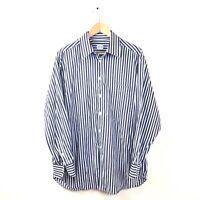 Armani Collezioni Button Down Shirt L Blue Stipe Top 43 17 Men's Long Sleeve
