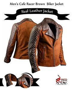 Men's Cafe Racer Brown Biker Distressed Real Leather Motorcycle Zipper Jacket